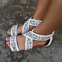 White Fiji Cut Out Sandals