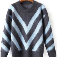 Chevron Fluffy Knitted Sweater in Blue or Red