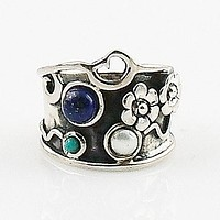 Lapis, Pearl & Turquoise Sterling Floral Band Ring