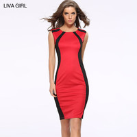 Fashion Women Sexy Mixed Color Slim Fit Package Hip Sleeveless Erotic One Piece Dress _ 11204