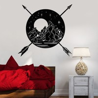 Vinyl Wall Decal Landscape Mountains Full Moon Arrows Ethnic Style Stickers Unique Gift (1355ig)