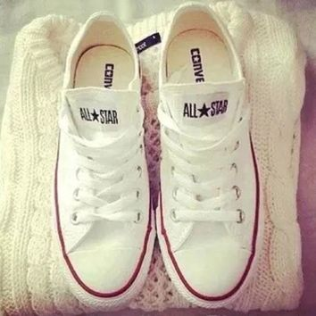 Tagre Womens White Converse Fashion Canvas Flats Sneakers Sport Shoes