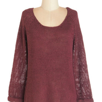 ModCloth Minimal Mid-length Long Sleeve Through the Thicket Sweater
