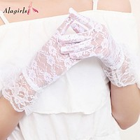 Sexy Ruffled Lace Bridal Gloves White Wedding Accessories 2020 Short (White)