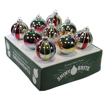 Shiny Brite Ombre Pastel Balls Set / 9 Ornament  Christmas Retro - 2133532