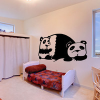 Vinyl Wall Decal Sticker Mommy and Baby Panda #OS_MB491