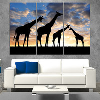 Abstract African Landscape Giraffe Wall Art Painting On Canvas