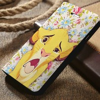Disney Simba The Lion King Custom Wallet iPhone 4/4s 5 5s 5c 6 6plus 7 and Samsung Galaxy s3 s4 s5 s6 s7 case