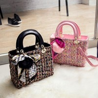 Women Temperament Fashion Multicolor Worsted Handbag Single Shoulder Messenger Bag