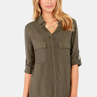 Metal Down Studded Olive Button-Up Top
