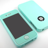 GnJ New Mint silicone tpu case cover+Mint film+mint home button for iPhone 4S 4G