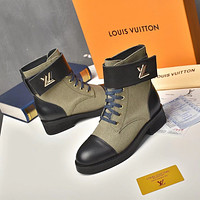 lv louis vuitton trending womens black leather side zip lace up ankle boots shoes high boots 224