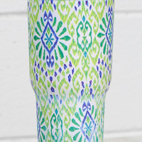 Stainless Steel 30 oz Diamond Print Hot/Cold Tumbler {Lime}