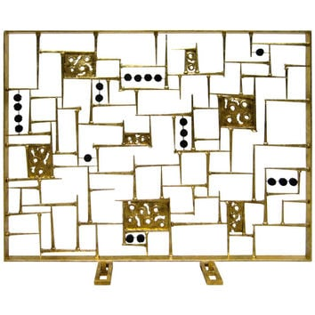 A Spectacular Sculpted Gold Leafed Steel Modernist Fire Screen by American Artist Del Williams