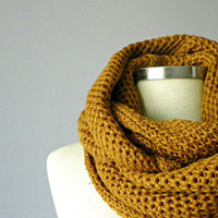 scarves, unisex, for man, knit scarf, Cowl Scarf, dark mustard winter - fall women accessories, chunky infinity cowl