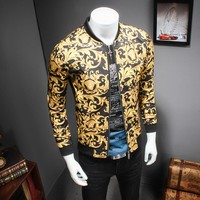 2017 Gold Printing Jacket Mens Luxury Baroque Bomber Jackets Mens Slim Fit 5XL Mens Clothing Club Outfits Royal Men Short Jacket