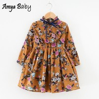 AmyaBaby Girls Long Sleeve Dress Floral Princess Costume Autumn Winter Toddler Girl Dress Christmas Girls Clothing Kids Dresses