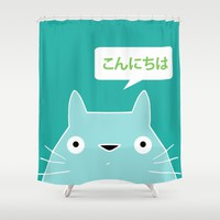 My Neighbor III | Konnichiwa Shower Curtain by Miss L In Art