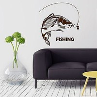 Wall Stickers Fish Fishing Rod Hobbies Men Vinyl Mural Stickers Unique Gift (ig2103)