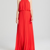 AQUA High Neck Blouson Pleated Skirt Gown - Bloomingdale's Exclusive