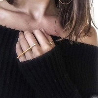 1pc Big Metal Punk Long Bar Statement Midi Finger Knuckle Rings For Women Charms Modern Fashion Jewelry Simple Female