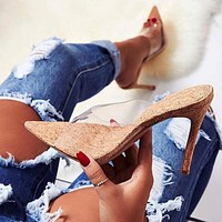 Transparent Vamp Wooden Soles pointed toe high heel stiletto slippers women's shoes