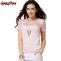 t shirt women 2016 chiffon silk short sleeve o-neck solid 12 color brand for woman femal tops and T-shirts Y050