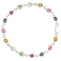 Multi Colored Heart Shaped Gemstones Anklet In Sterling Silver (9, 10 And 11 Length Inches)
