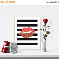 Red Lips Print Trimmed in Faux Gold, Black Stripes, Bedroom Wall Art Decor, Instant Download, Printable Art, Bedroom Print