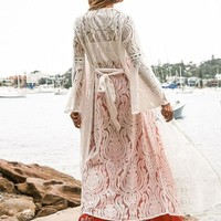 White Lace Hollow Long Beach Cover-ups