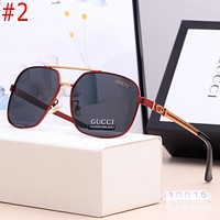 GG classic stitching color logo engraving men's and women's beach glasses sunglasses #2