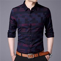 Men Shirt Mens Business Casual Shirts New Arrival Men Famous Clothing Plaid Long Sleeve Camisa Masculina