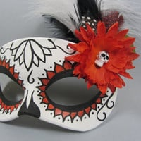 Day of the Dead Orange Lotus Flower Leather Masquerade Mask
