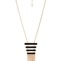 FOREVER 21 Lacquered Ladder Pendant Necklace Gold/Black One
