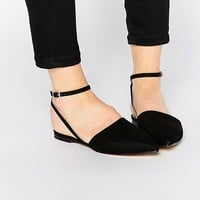 London Rebel Ankle Strap Point Slingback Flat Shoes at asos.com