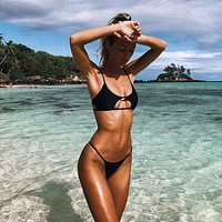 Swimsuit String Bikini Set Two-piece Suits Black and Red Solid Micro Bikinis Sexy Bathing Suit