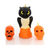 Halloween TRIO HALLOWEEN VINTAGE CANDLES Set / 3 Owl Skeleton Head Ta206 Set/3