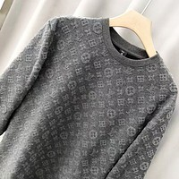LV Louis Vuitton Autumn And Winter New Fashion Monogram Print High Quality Keep Warm Women Men Long Sleeve Top Sweater Gray