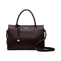 Radley London Small Zip-Top Convertible Leather Bag - Oxblood/Gold