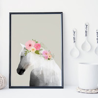 Horse art print with flowers in mane animal print, horse watercolor, home wall decor, apartment wall art, horse poster, nursery decor, gift