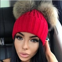 Hat with pompon жен шапкаи помпон women knitted hats