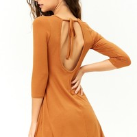 Ribbed Open-Back Swing Dress
