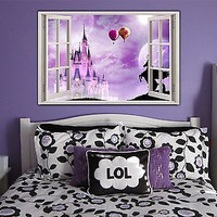 Disney Fairytail Castle Window Removable Decal Home Decor Mural Wall Vinyl Art
