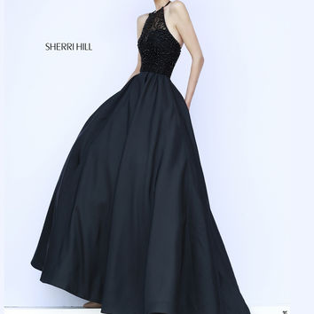 Sweetheart Underlay Sherri Hill Black Prom Dress 32120