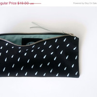 20% OFF/ RAIN DROP/ hand screen printed pencil case with rain drop print, black and mint stationary, hipster pencil pouch