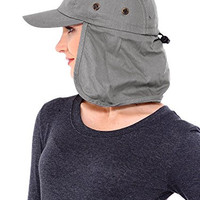 Simplicity Safari / Outback Style Long Earflap Wide Brim Sun Protection Hat,Grey