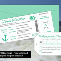 DIY Printable Wedding Boarding Pass Luggage Tag Template | Invitation | Editble MS Word file | Instant Download | Cruise Ship Emerald Green