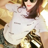 Balenciaga Women Loose Casual Classic Letter Print Short Sleeve T-shirt Top Tee