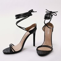 Rudie Lace Up Heels in Black Mock Croc