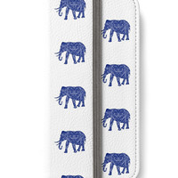 iPhone 6 Wallet Boho Elephant Blue White Design on Front and Back iPhone 6S Plus Wallet Case Woman's Lady Boho Bohemian Wallet Gift For Her